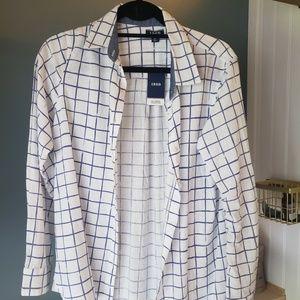 Izod Blue & White Checker Button Up